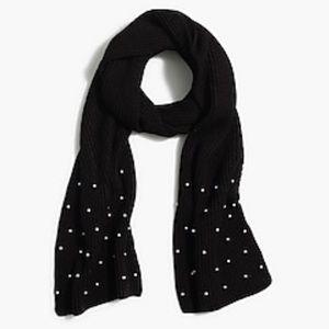 {J. Crew} Beautiful Pearl Embellished Knit Scarf